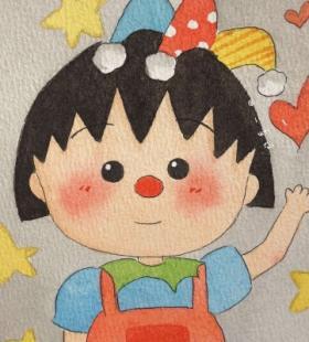 水彩画樱桃小丸子可爱手绘微信高清头像