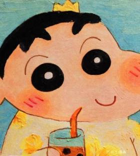 微信QQ蜡笔小新水彩画恶搞蜡笔小新的可爱幽默头像