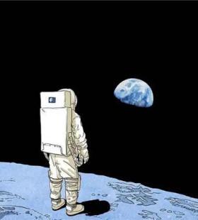 宇航员漫步太空小清新卡通头像图片