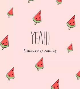 可爱小清新手机粉色背景壁纸图片夏日西瓜