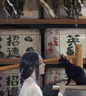 美女与猫高清动漫手机壁纸图片