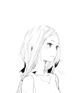 女生手绘黑白手机壁纸图片