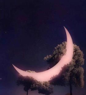 唯美创意星空手机高清壁纸图片掉下来的月亮