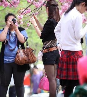 公园里的黑丝少妇高清图片写真