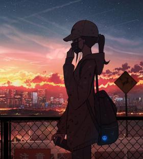 好看戴口罩的女孩子 风景 夕阳 天空 云 2k动漫手机壁纸图片