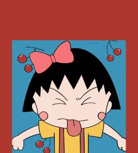 樱桃小丸子可爱高清手机红色背景壁纸卡通图片
