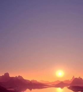 日落山脉夕阳湖泊高清唯美手机壁纸图片