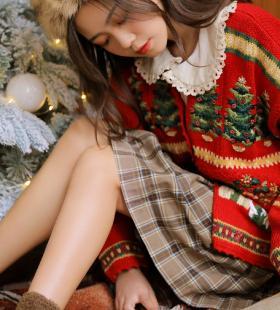 圣诞主题红色毛衣美女娇艳迷人高清私房照