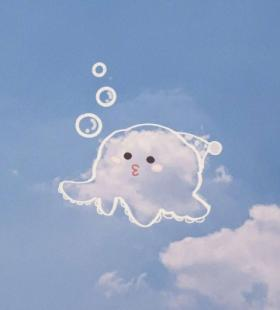 微信QQ带好运风景蓝天白云可爱手绘白云大全头像