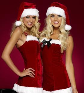性感的欧美圣诞装美女姐妹花高清诱人电脑桌面壁纸图片