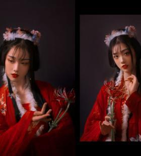 红衣古风美女美艳性感写真图片