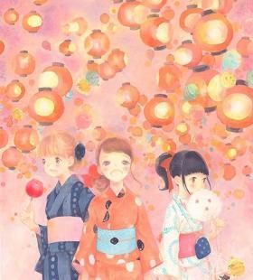 卡通动漫插画夏日祭典少女和服养眼唯美浪漫壁纸图片