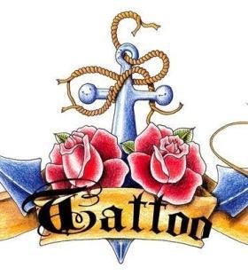 时尚个性好看的航海图案彩色纹身手稿图片