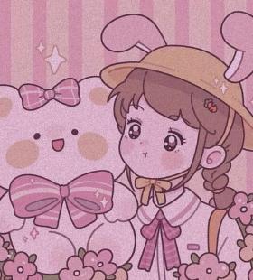 超可爱粉色泡泡动漫情头高清头像图片