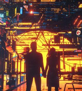 动漫插画钢铁城市霓虹灯高清手机壁纸