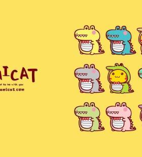 哈咪猫和鳄鱼的卡通可爱图片壁纸