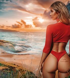 超性感海滩翘臀欧美辣妹写真壁纸图片