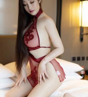 性感波霸美女红色诱人情趣内衣妩媚写真图片