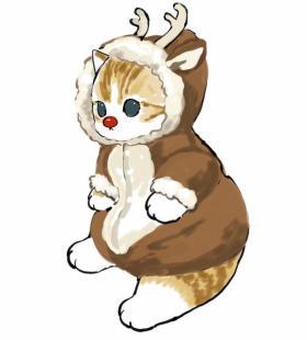圣诞主题可爱猫猫卡通手绘头像图片大全