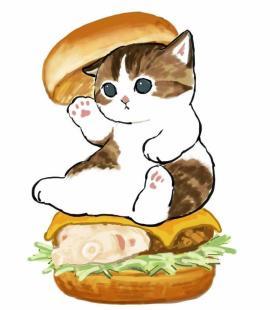 可爱超火的猫咪汉堡卡通微信头像图片