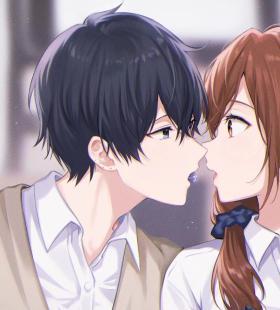 初心男左女右亲吻照情侣头像图片